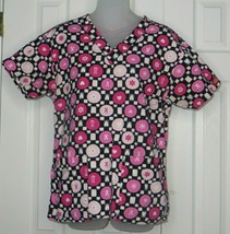 Dickies Scrubs Heart Pink Ribbon Breast Cancer Awareness Scrub Top Size S Small - $7.69