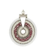Handmade Oxidized Silver White Red Beads Pendant Jewelry - $79.47