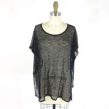 S - Eileen Fisher Womens Black Sheer Fishnet Boxy CoverUp Tunic 0000MB - $38.00