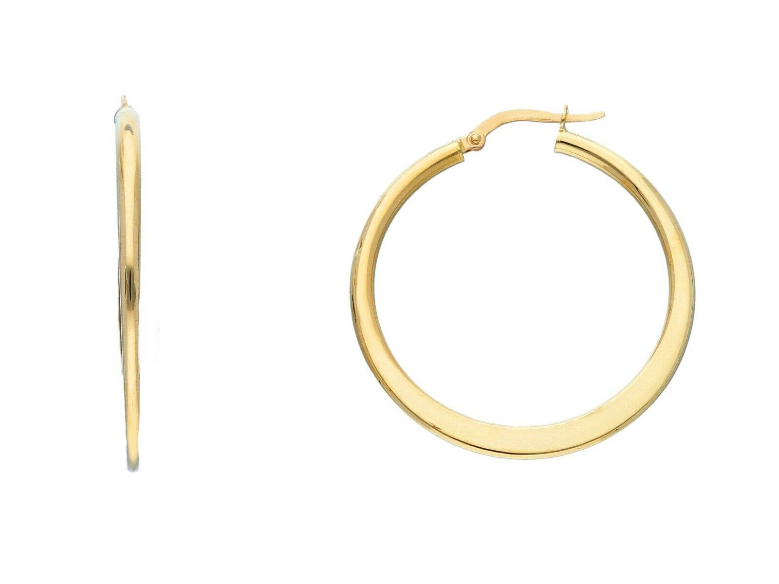 18K YELLOW GOLD ROUND CIRCLE EARRINGS DIAMETER 30 MM GLOSSY BRIGHT MADE IN ITALY