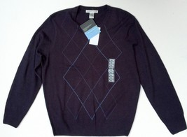 NWT Geoffrey Beene Size Small Navy Blue Mens Sweater Argyle Pattern Acrylic - $29.69