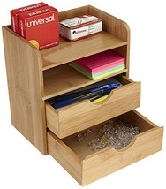 Mind Reader Desk Supplies Organizer with 2 Drawers, Bamboo Brown - €14,85 EUR
