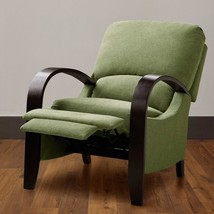 Dual Position Sage Green Bent Wood Arm Leg Chair Foam Padded Recliner - $328.90