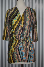 Diane von Furstenberg Ervin Wrap Top Blouse Bright Tribal Print Silk DVF... - £65.74 GBP