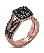 14k Rose Gold Plated 925 Silver Round Cut Black Diamond Wrap Ring Engage... - $128.99