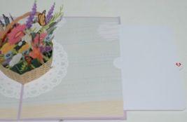 Lovepop LP2075 Flower Basket Pop Up Card Purple White Envelope Cellophane Wrap image 4