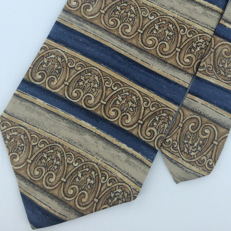 Primary image for Bill Blass Khaki/Brown Stripe Art  Blue Silk Men Necktie #M1-2 Excellent Ties