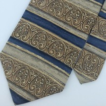 Bill Blass Khaki/Brown Stripe Art  Blue Silk Men Necktie #M1-2 Excellent... - $15.83