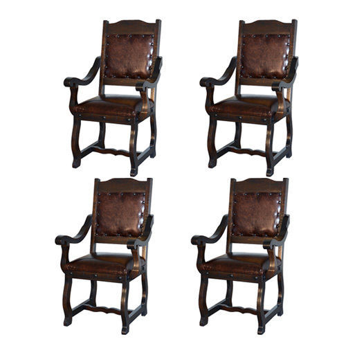 Set Of Four Gran Hacienda Leather Arm Chairs Solid Wood Lodge