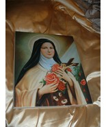 """NEW Laminated Icon On Wood With Saint Theresa 11"""" x 14"""" Old Stock Still ... - $12.86"""