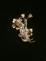 40s victorian A+Z flowers and vines brooch with mixed metals image 6