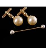 Vintage Pearl Cufflinks - pearl collar bar - Swank set - gold tuxedo cuf... - $145.00