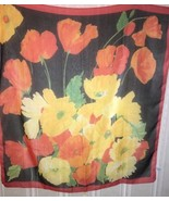 Elaine Gold Scarf, Multi-Color Floral Print, Polyester, Lightly-Fringed,... - $7.92