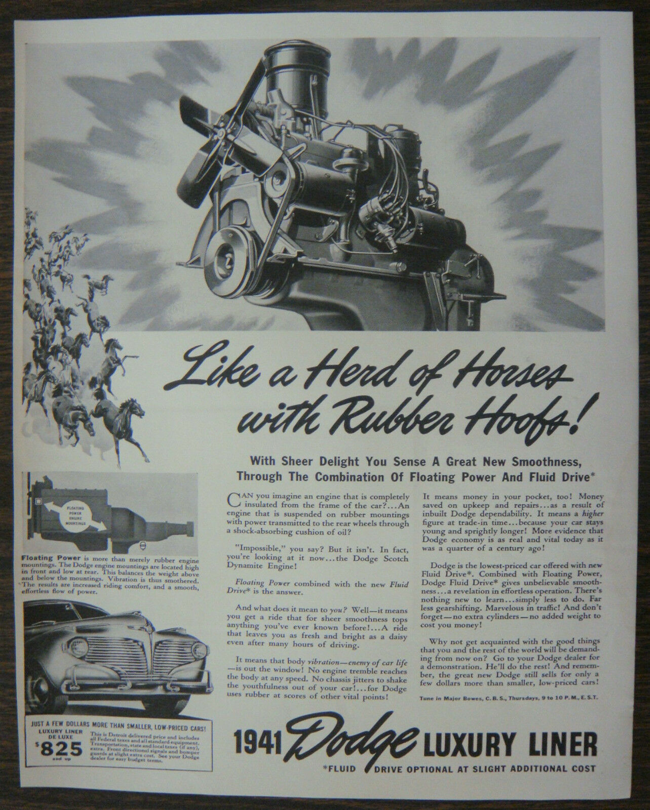 "Primary image for ORIGINAL 1940 Print Ad for the 1941 Dodge Luxury Liner ""Like a Herd of Horses"""