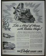 "ORIGINAL 1940 Print Ad for the 1941 Dodge Luxury Liner ""Like a Herd of H... - $10.75"