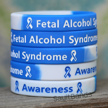 Set of Fetal Alcohol Awareness Wristbands - Wholesale Lot of Silicone Br... - $4.93+