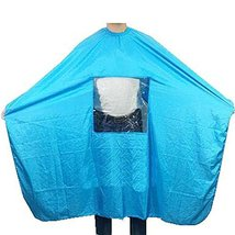 Hair Beauty Salon Client Gown Waterproof Hair Coloring Cape Smock, Blue