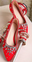 Blush Crystals Leather Wedding Shoes,Red Women Leather Bridal Flats Shoes - $88.00
