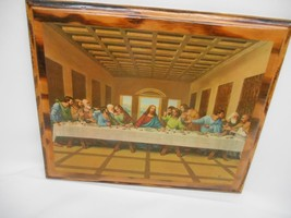 """Old Vtg DECOPOUGE RELIGIOUS PRINT  """"LAST SUPPER""""  WOOD PLAQUE Wall Hanging - $39.59"""