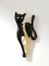 Vintage Gold Tone Black Cat Brooch Pin Black Enamel Clear Rhinestone Acc... - $18.76
