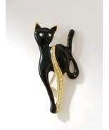 Vintage Gold Tone Black Cat Brooch Pin Black Enamel Clear Rhinestone Acc... - $18.76