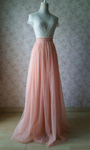 Coral Pink Tulle Skirt Bridesmaids Long Tulle Skirt High Waisted Coral Wedding image 8