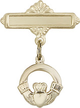 14K Gold Baby Badge with Claddagh Charm and Polished Badge Pin 7/8 X 5/8 inch - $330.14