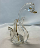 "Vintage Brooke Glass Swan Figurine with Gold Accents ~ 3"" Tall  BEAUTIFUL! - $15.00"