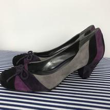Nine West Women's Suede Purple Gray Black Pump Bow On Toe Size 6 - €32,88 EUR
