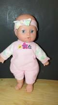 Kidoozie Snug & Hug baby doll pink outfit w/ flowers headband sleep eyes... - $8.90