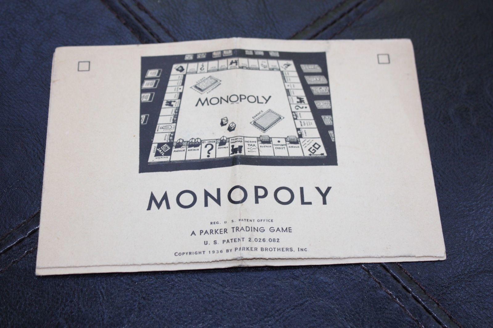 Original Vintage 1936 Monopoly Game Directions Instructions Vintage