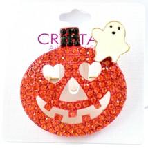 Crystal Avenue Orange Crystal Pumpkin & Halloween Ghost Pin Brooch image 1