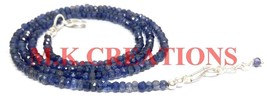 "925 Silver Natural Indian Iolite 3-4mm Beads Beaded Chain 36"" Fine Necklace - $32.00"
