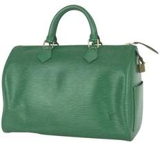 Auth Louis Vuitton EPI Hand Bag Green Leather Speedy 30 Logo Pouch LVB0745 - $493.02