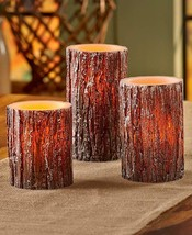 Flameless Maple Bark Look LED-Candle Set | Woodland | Fall | Cabin | Country - $14.82