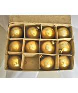 "Vintage Gold Glass Christmas Balls 1"" Set of 11 in Original Box - $16.40"