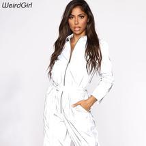 Weirdgirl women reflective autumn new jumpsuit zip-up belt pocket solid silver r image 2