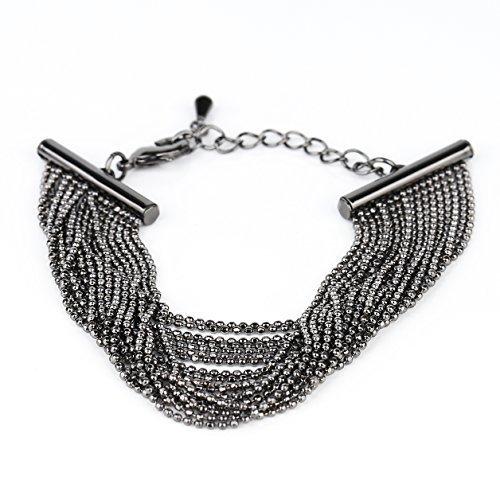 UE- Sophisticated Charcoal Gun Metal Tone Designer Beaded Bracelet