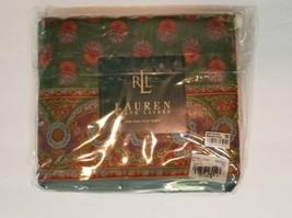 Rare Ralph Lauren VILLAGE MEWS Border Green Floral Flat Sheet - Full - $197.99