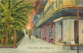 Linen Postcard LA I274 Pirates Alley Man Banana Trees New Orleans Curteich - $5.25