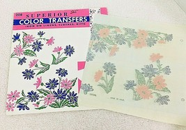 Vintage Superior Color Embroidery Transfers #208 Pink & Blue Daisy Flowers  - $6.44