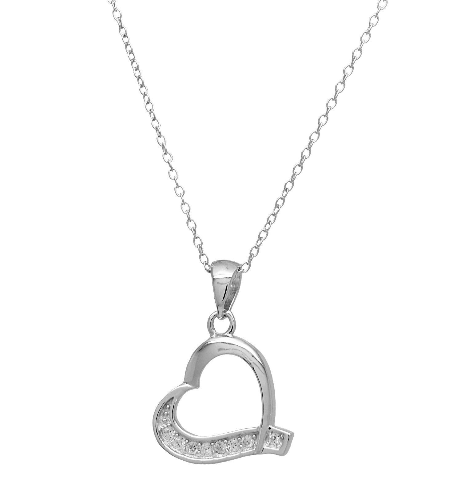 925 Sterling Silver Heart Cubic Zirconia Pendant