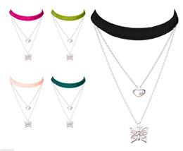 Lolusodesigns Velvet & Silver 3 Layer Boho Chic Heart Butterfly Choker Necklace - $14.95