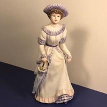 Home Interior Gifts Penelope Figurine Homco 1491 Purple Statue Gold Umbrella Hat - $34.65