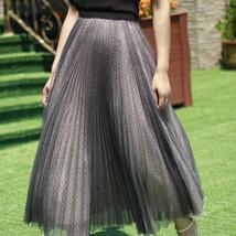 Black Polka Dot Tulle Skirt Black Pleated Tulle Midi Skirt image 5