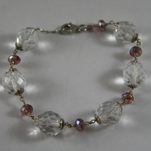 925. RHODIUM SILVER BRACELET WITH PURPLE AND TRANSPARENT CRYSTALS image 1
