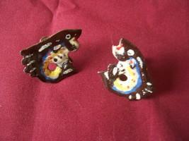 vintage wooden fish pierced earrings wood painted - $5.93