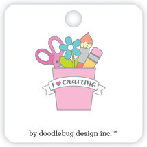 I Heart Scrapbooking Crafting Pin. Enamel Pin. Doodlebug Designs