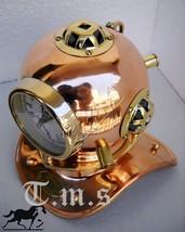 Divers Helmet Brass & Copper  Clock Marine Table Top Nautical Clock Tabl... - $55.15