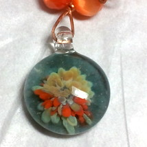 Copper Wire Wrapped Orange Fiber Optics and Floral Glass Necklace Set image 5